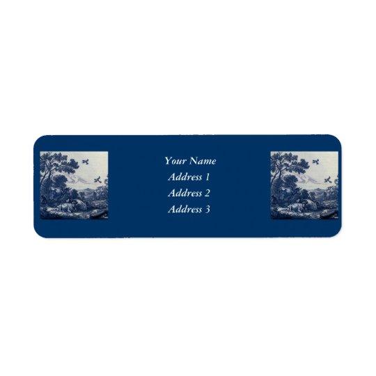 Antique Delft Blue Tile - Cattle and Birds Return Address Label