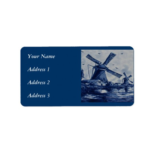 Antique Delft Blue Tile - Windmills by the Water Address Label