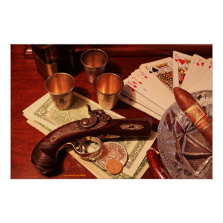 Antique derringer pistol in gambling set up poster
