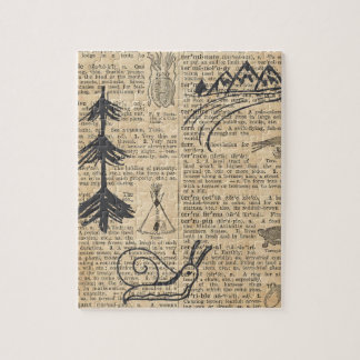 Antique Dictionary Page with Doodles Sepia Black Puzzle