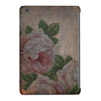 Antique Distressed Leather Victorian Pink Roses iPad Mini Cover