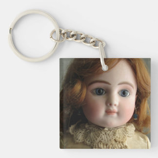 Antique Doll in Brow Dress Key Chain, Customizable Key Ring