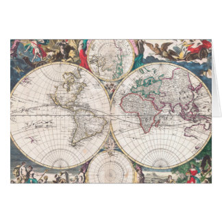 Antique Double-Hemisphere World Map Card
