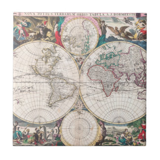 Antique Double-Hemisphere World Map Ceramic Tile