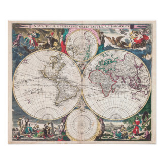 Antique Double-Hemisphere World Map Poster