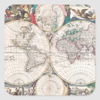 Antique Double-Hemisphere World Map Square Sticker