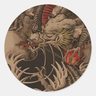 Antique dragoon round sticker