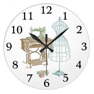 Antique Dressmaker Kit Illustration Clock
