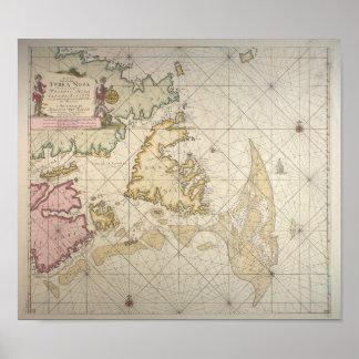 Antique dutch map off Newfoundland Poster