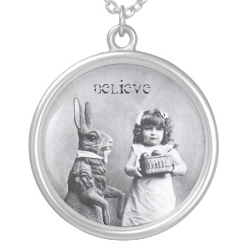Antique Easter Bunny Girl Post Card Believe Pendant