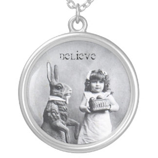 Antique Easter Bunny Girl Post Card Believe Round Pendant Necklace