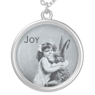 Antique Easter Bunny Girl Post Card Joy Round Pendant Necklace