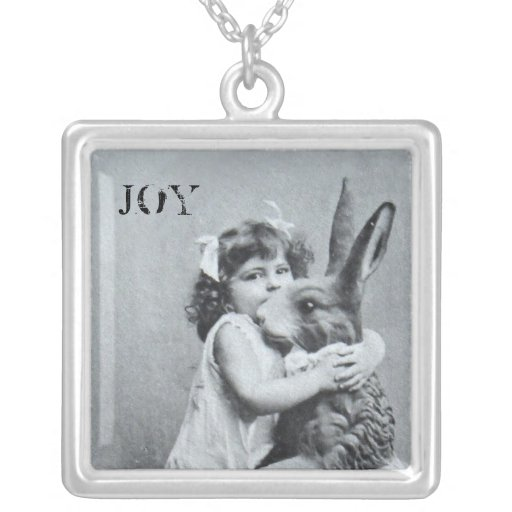 Antique Easter Bunny Joy Post Card Necklace