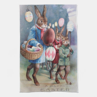 Antique Easter Bunny Parade Post Card Egg Lanterns Tea Towel