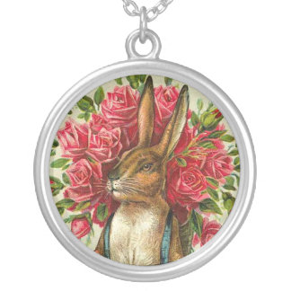 Antique Easter Bunny & Roses Post Card Pendants