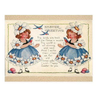 Antique Easter girls and swallow birds greetings Postcard