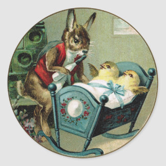 Antique Easter Papa Rabbit and Chicks Sticker