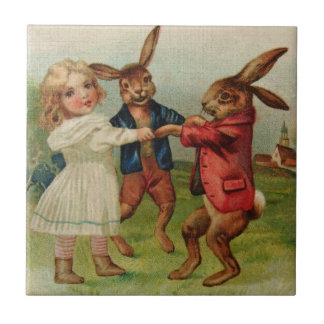 Antique Easter Play Ring Around Rosy Small Square Tile