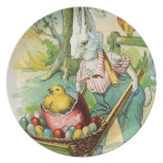 Antique Easter Post Card Bunny Wheel Barrow Plate