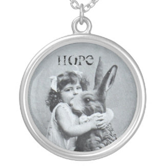 Antique Easter Post Card Girl Bunny Hop Round Pendant Necklace