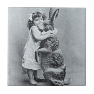 Antique Easter Post Card Victorian Girl Bunny Small Square Tile