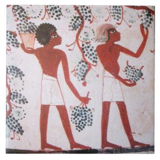 ANTIQUE EGYPTIAN VINEYARD WINE GRAPE HARVEST CERAMIC TILE