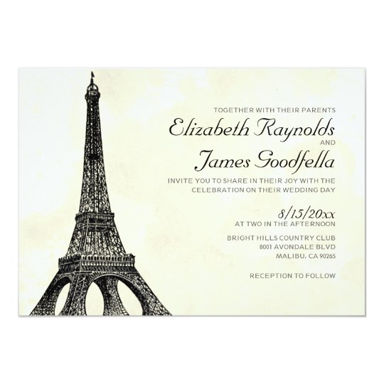 Antique Eiffel Tower Wedding Invitations