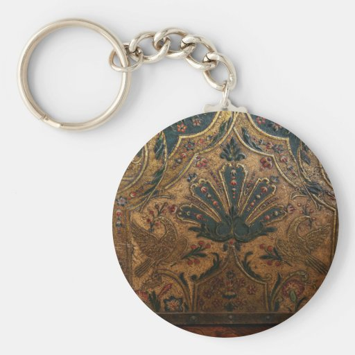 ANTIQUE EMBOSSED FRENCH FAUX LEATHER KEY CHAIN