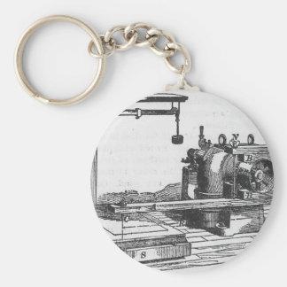 Antique Engineering Tool Vintage Ephemera Basic Round Button Key Ring