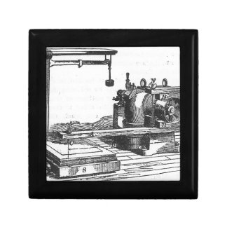 Antique Engineering Tool Vintage Ephemera Small Square Gift Box