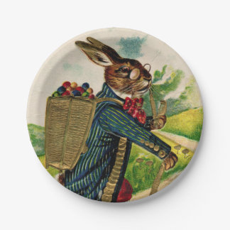 Antique Erudite Easter Rabbit Picnic Plate 7 Inch Paper Plate