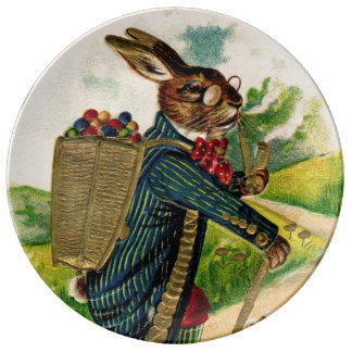 Antique Erudite Easter Rabbit Porcelain Plate