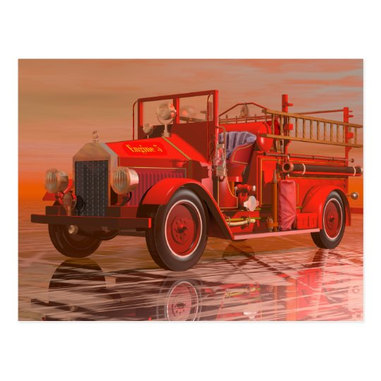 Antique fire engine postcard
