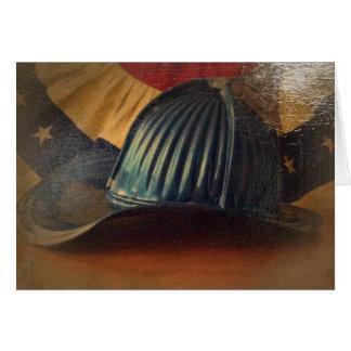 Antique fire helmet greeting card
