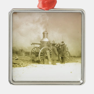 Antique Fire Men Silver-Colored Square Decoration