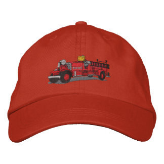 Antique Fire Truck Embroidered Hat