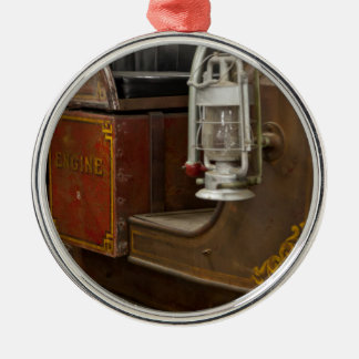 Antique Firetruck Silver-Colored Round Decoration