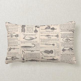 Antique Fishing News Typography Graphic Design Lumbar Cushion