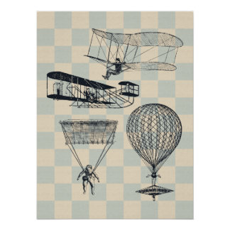 Antique Flight Illustrations Poster