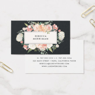 Antique Floral Blush & Charcoal Business Card