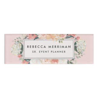 Antique Floral Blush Pink Name Tag