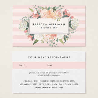 Antique Floral Blush Pink Stripe | Appointment Business Card