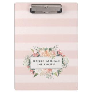 Antique Floral Blush Pink Stripe Clipboard