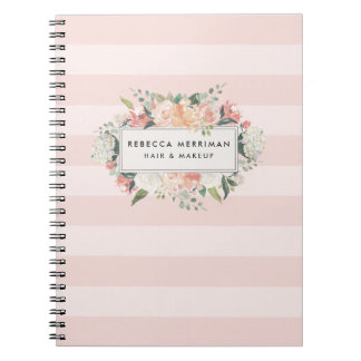 Antique Floral Blush Pink Stripe Notebook