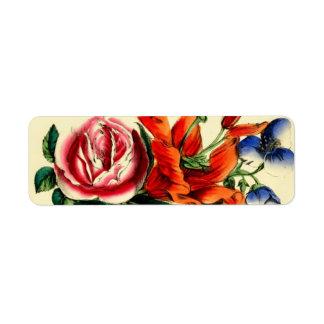 Antique Floral Red Lily Rose Bouquet Still Life Return Address Label