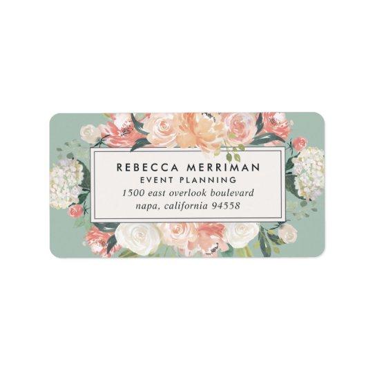 Antique Floral Sage Green Return Address Label
