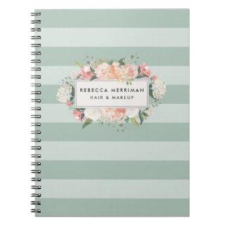 Antique Floral Sage Stripe Spiral Notebook