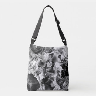 Antique Floral Skull Midnight Crossbody Bag