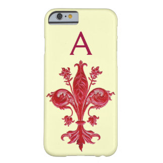 ANTIQUE FLORENTINE RED LILY,FLEUR DE LIS, Monogram Barely There iPhone 6 Case
