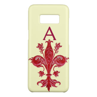 ANTIQUE FLORENTINE RED LILY,FLEUR DE LIS, Monogram Case-Mate Samsung Galaxy S8 Case